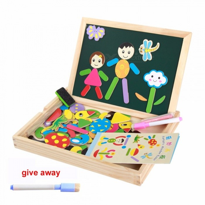 Children\'s Drawing Board Wooden Jigsaw Puzzle Double-sided Magnetic Tablet Multi-function Sketchpad Multicolor