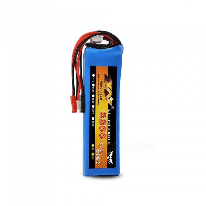 Li-Polymer 2S 7.4V 2200mAh 8C Lipo Battery for Multiple Remote-Control Devices - Blue