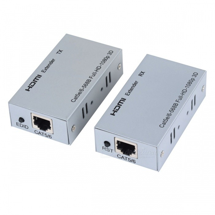 HDMI HD RX TX Extenders 60m Network Cat 5e / 6 Cable Expander Signal  Amplifiers Set - Silver