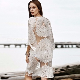Ultra-Thin-Sexy-Floral-Lace-Embroidery-Long-Beach-Bikini-Blouse-Cardigan-Sun-Proof-Cover-Up-Top-For-Swimsuit-Swimwear-WhiteOne-Size