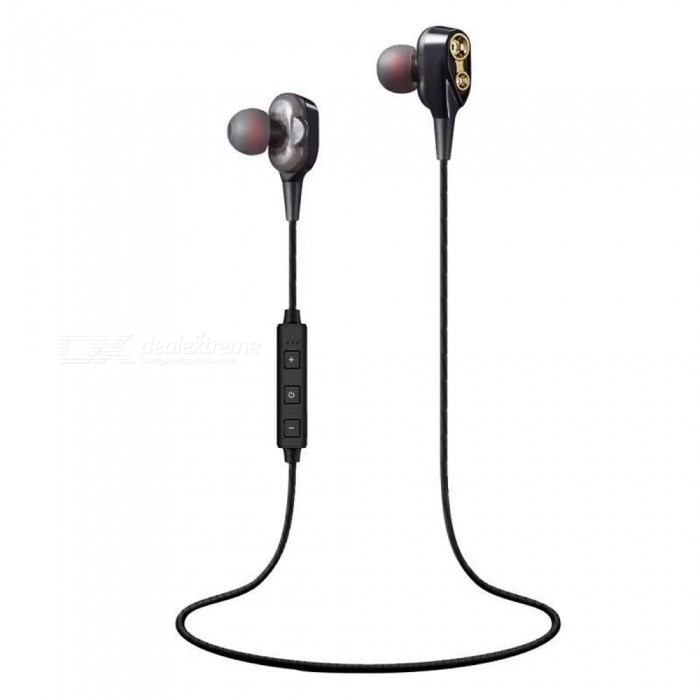 Cwxuan Super Bass Stereo Bluetooth Earphone, Double Unit Driver In-ear Earbuds with Mic For IPHONE Samsung Xiaomi Huawei - Black