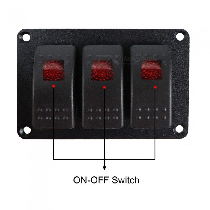 Universal-12V-24V-Automobile-and-Yacht-Modification-3-Position-In-Line-Switch-Panel-Red-Light-Single-Lamp-LED