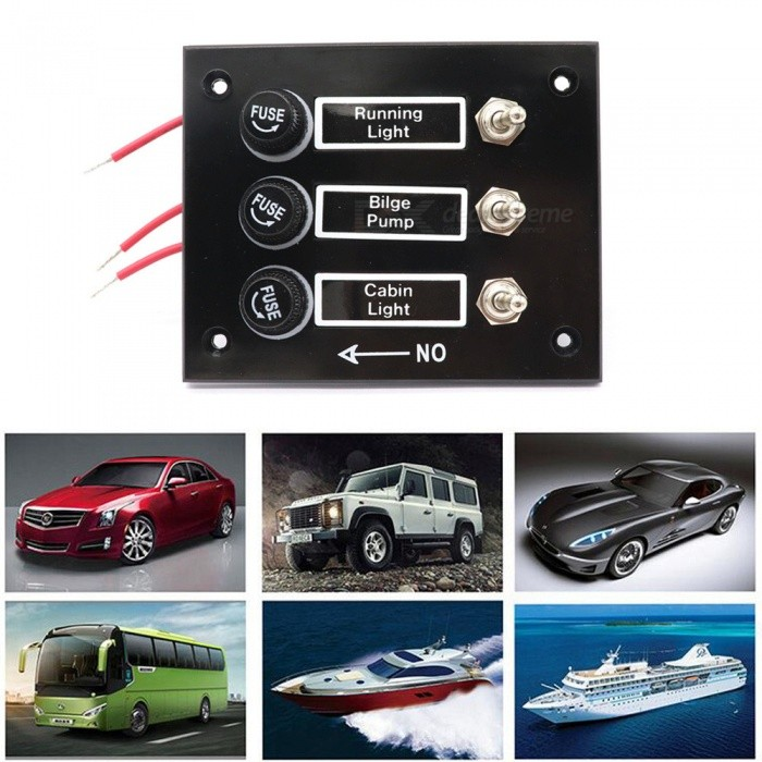 Universal 12V-24V Car Ship Modification 3 Sets Rocker Switch Panel with  Overload Protection - Black