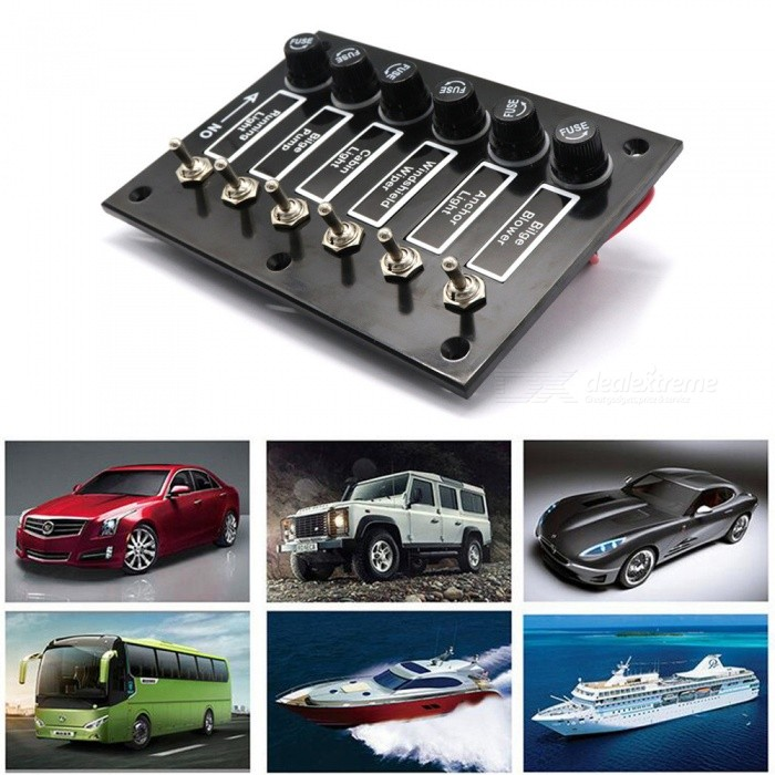 Universal 12V-24V Vehicle and Yacht Refit 6 Sets Rocker Switch Panel with  Overload Protection - Black