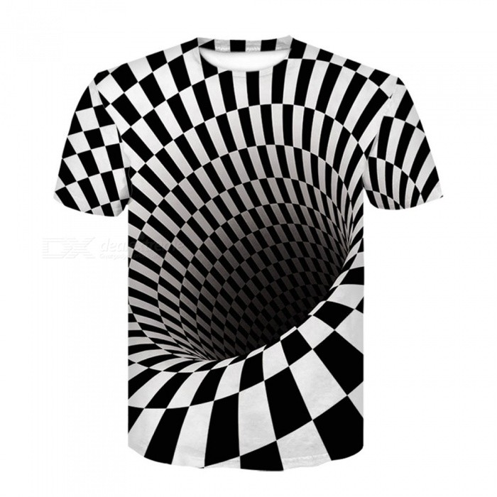 Men's Fashion 3D Digital Vortex Pattern Print Spandex Short Sleeved T-Shirt - Black (4XL)