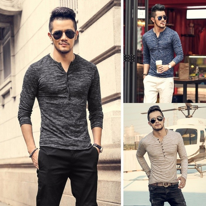 Autumn Winter New Fashion Open Door Threshold Bamboo Silk Men\'s Bottoming Shirts Long Sleeve Slim Cotton Trendy T Shirt Blue/M