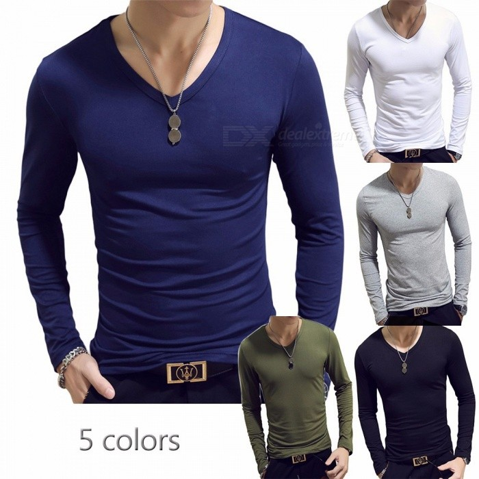 Casual Men\'s Solid Color Slim Long Sleeve T Shirt V Neck Tight Bottoming Shirt For Men Black/M