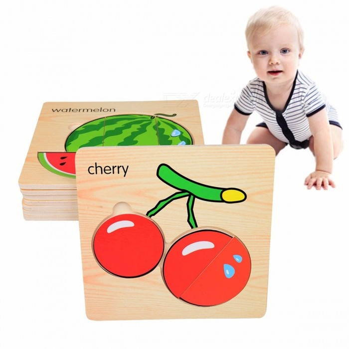 3D Fruits Wooden Clutch Plate Puzzle Toy, Early Childhood Educational Toy For Children Cognitive Ability (8 PCS) Yellow