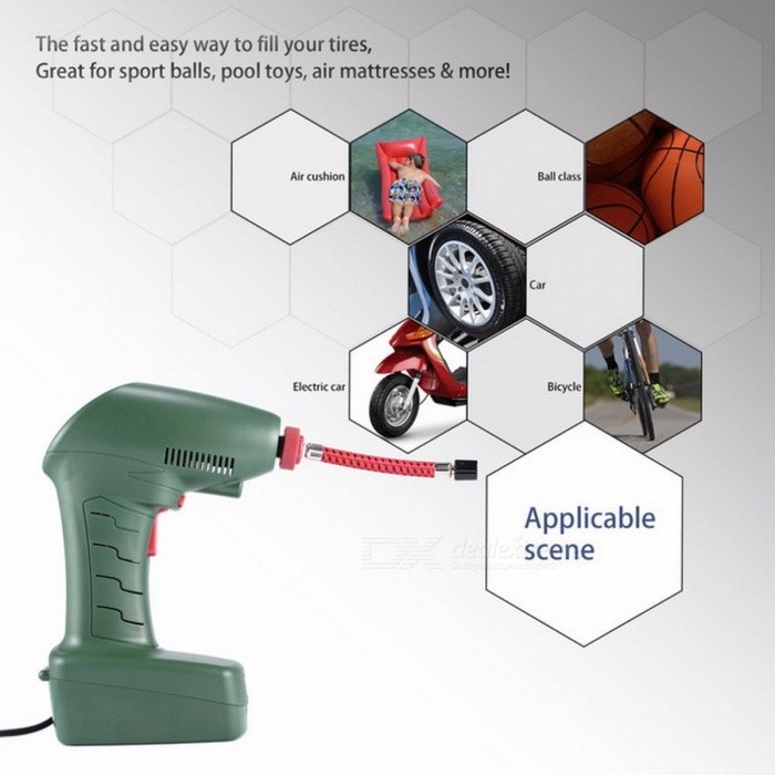 Handheld Portable Air Compressor, Car Auto Tire Inflator Pump Tool For Outdoor Emergency Sport Ball Pool Toys Green