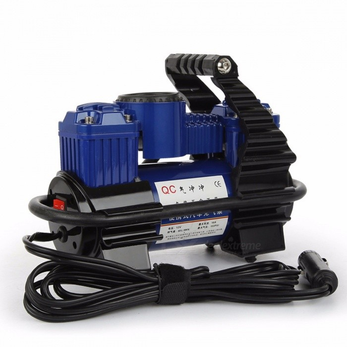 Large Power Double Cylinder Car Auto Air Compressor, Portable Good Quality Hand-held Metal Car Tire Air Pump Black