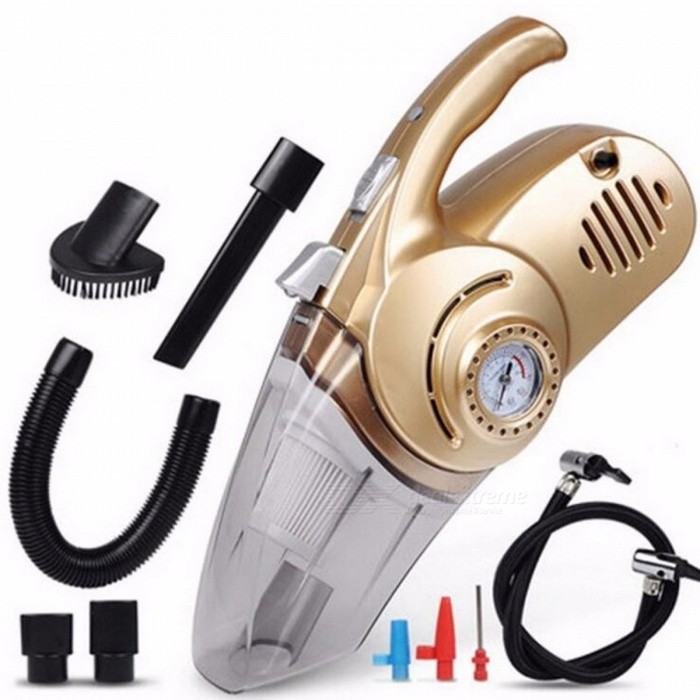 Portable 12V Air Compressor, Car Tyre Inflator, Wet And Pressure Pneumatic LED Lighting Tire Inflatable Pump Gold