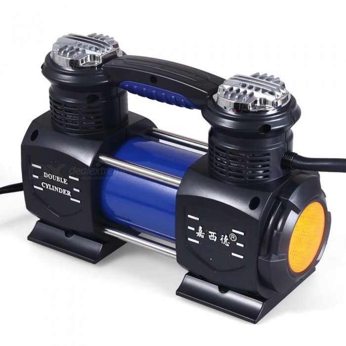 Portable Double Cylinder Car Air Compressor, Good Quality Hand-held Car Inflatable Air Pump Black