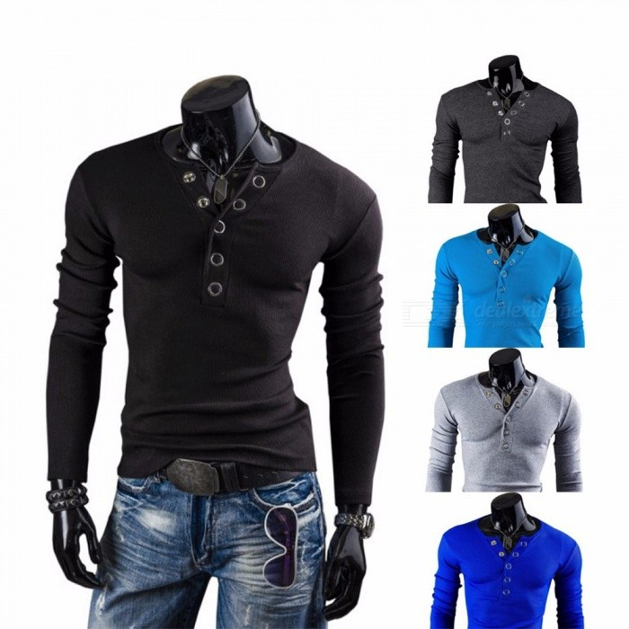 Men's Casual T-Shirt, Fashion Multi-button Long-Sleeved V Neck Tee Tops Black/M