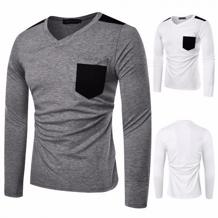 Casual Solid Color Slim Fit V Neck Patch Pocket Long Sleeve Men\'s T-shirt Top Blouse Gray/M