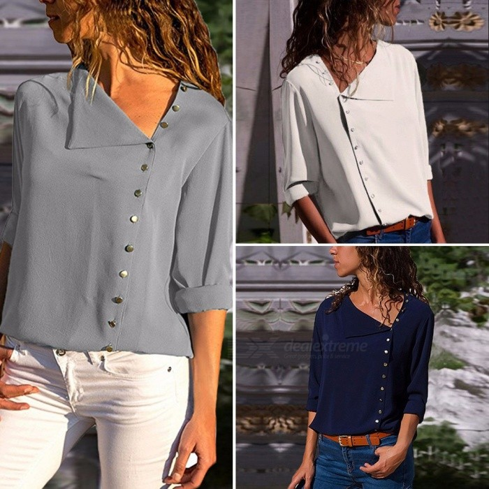 Women\'s New Shirts Button Irregular Skew Collar Long Sleeve Blouse Shirt Gray/White/Navy Blue CLX003 Gray/S