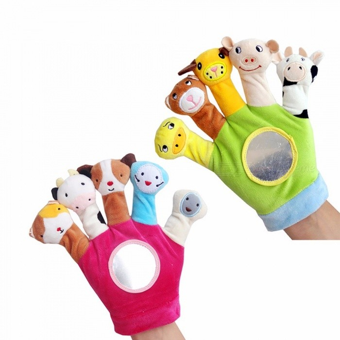 Cute Animal Hand Puppet Finger Toy, Baby Dolls Plush Toy Puppets For Bedtime Stories, Christmas Toys For Children Light Green/11cm-30cm