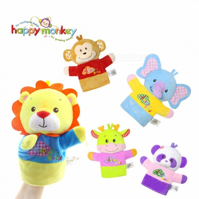 Happy Monkey Fun Animals Hand Puppets For Infant Baby, Bedtime Stories Soft Plush Educational Cognition Toy For Kids Yellow