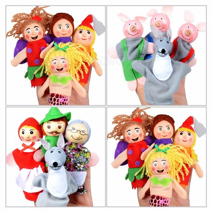 Fairy Tale Hand Puppet Doll For Infant Baby, Bedtime Stories Soft Plush Hand Educational Cognition Toy For Kids (4 PCS) Yellow/0-10cm