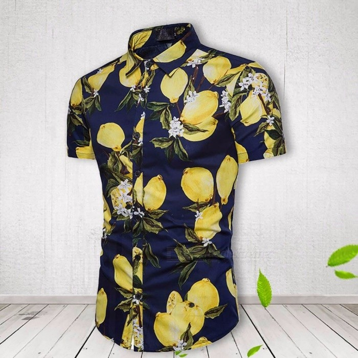 Fashion Lemon Print Mens Short Sleeve T-Shirt Summer Casual Turn-Down Collar Shirt For Men Red/M
