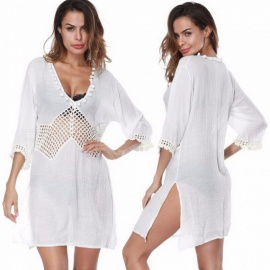 Summer-Beach-Swimsuit-Bikini-Cover-Up-Deep-V-Neck-Hollow-Out-Three-Quarter-Sleeve-Blouse-Top-Shirt-For-Women-WhiteOne-Size