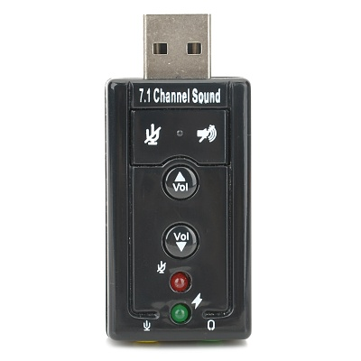 USB Virtual 7.1 Channel External Sound Card Adapter - Black