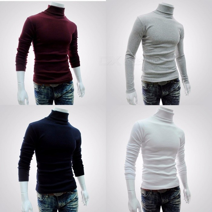 Hedging Solid Style Men Boutique Long Sleeve T Shirt Fashion Casual Slim High Collar Bottoming Shirts Gray/M