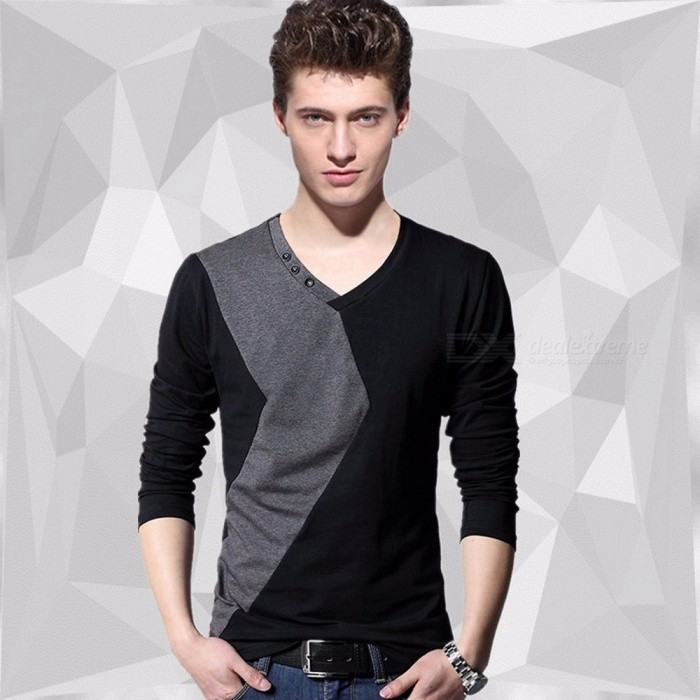 Men\'s Patchwork V-Neck Cotton T Shirt Simple Stitching Design Casual Fashion Slim Long Sleeve Shirts Black/M