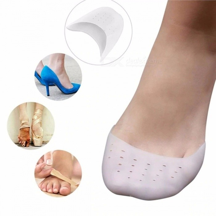 1 Pair Silicone Gel Toe Sleeve Comfortable Ballet High Heel Pain Relief Protect Foot Care White