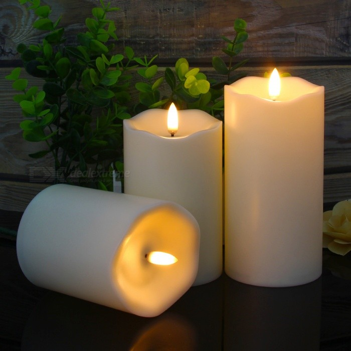 "Mingfuxin Flameless LED Pillar Candles with Remote and Timer Fake Wick 3D Flickering H4"" 5"" 6"""