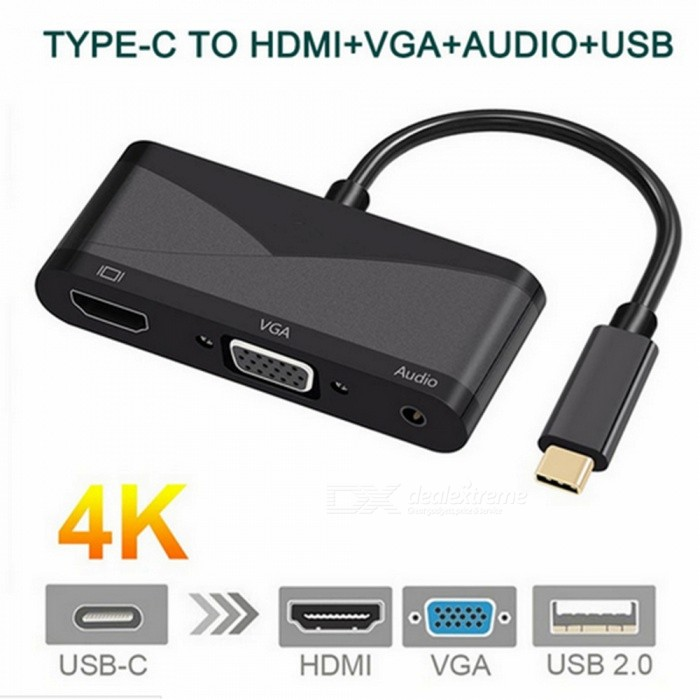 ZHAOYAO USB3.1 HUB Type C to Audio VGA HDMI 4K 30Hz Data Transmission + Charging Converter - Black