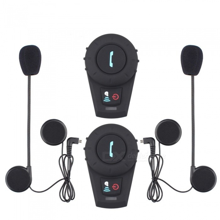 2Pcs Motorcycle Helmet Bluetooth Intercoms, Wireless Headset BT Interphone Intercomunicador - EU Plug