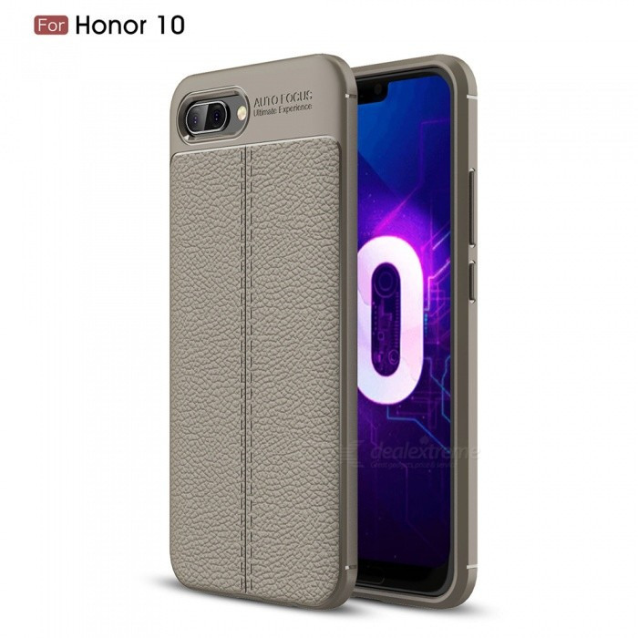 ZHAOYAO Lychee Pattern TPU Soft Protective Back Cover Case for Huawei Honor 10 - Grey
