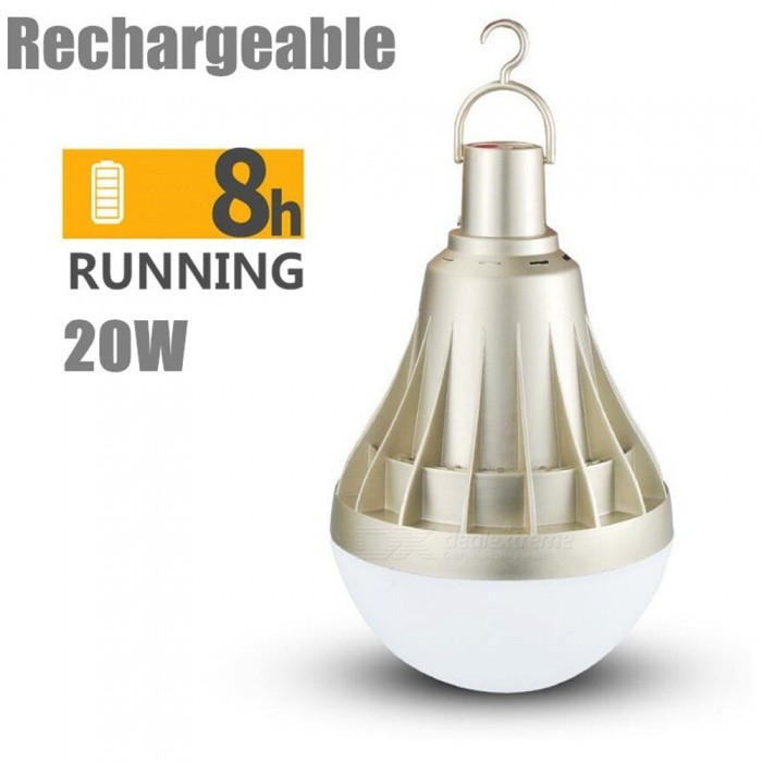 USB Rechargeable LED Bulb Light 5 Lighting Modes Dimmable Portable Lamp Bulbs Outdoor Emergency E27 Cold White/30w/Gold