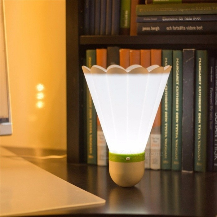 Dark Night LED Glowing Light-up Badminton Shaped LED Nightlight USB Rechargeable Table Lamp Colorful Lighting Balls White