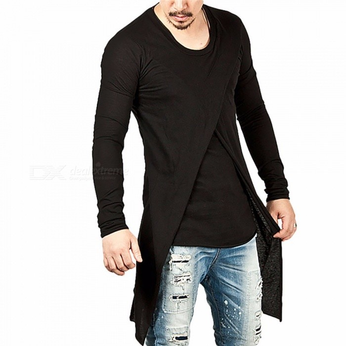 Fashion Personality Crossed Multi-Layer Irregular Hem Long Sleeve Men's T-Shirt, Casual Male Tee Top Black/M