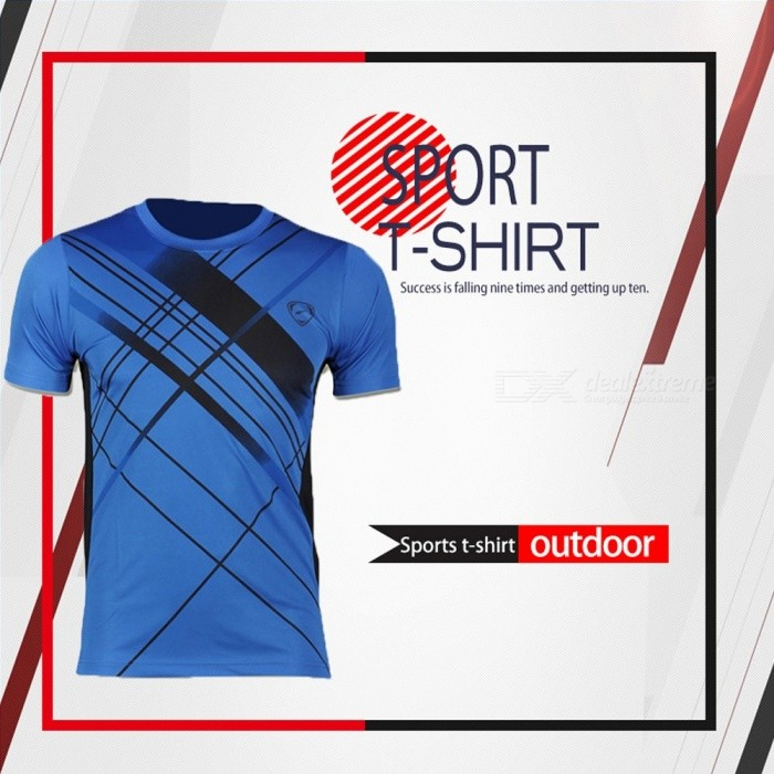 Men's Fitness Sports Tights Stretch Short Sleeve Quick-drying Compression T Shirt Running Training Shirts LSL133 Blue/M