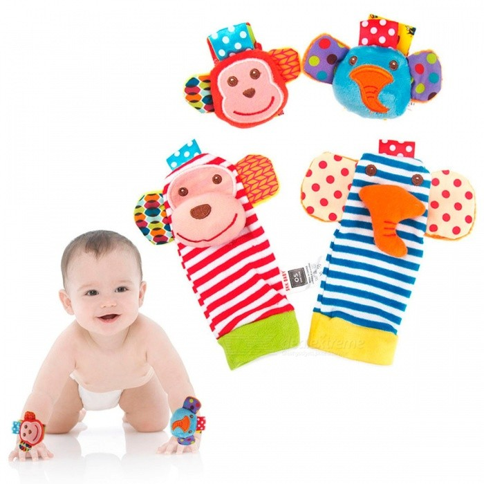 4 Pcs/Set Baby Socks Infant Baby Rattles Stuffed Toys Animal Socks Wrist Band Socks For Toddlers Baby Multicolor