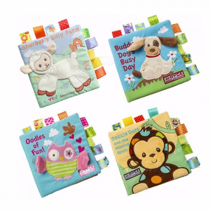 Baby Cloth Book Early Puzzle Teaching Toy English Palm Book Stereo Tear Not Bad 3D Animal Practice Cognitive Blue