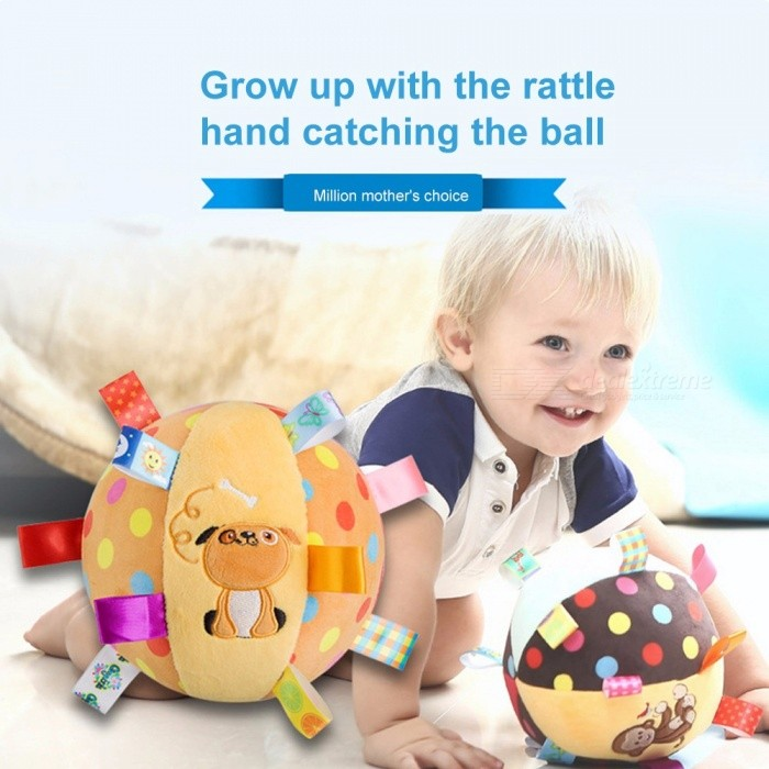 Baby Rattles Appease Round Roll Ball Doll Ring Bell Animal Cartoon Infant Crib Stroller Hanging Toy Plush Cute Education Pink