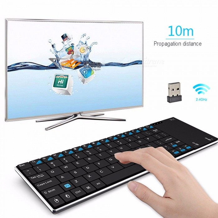 Rii  I12 Mini 2.4GHz Wireless Multimedia Keyboard Touchpad Mouse With USB Receiver For Android Windows Black