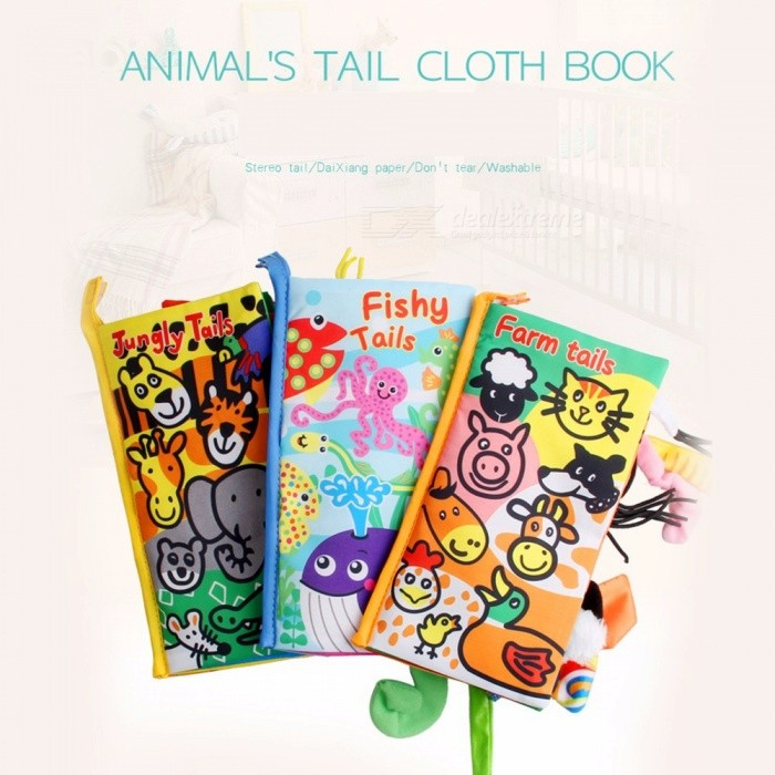 Cloth Book Three-dimensional Animal Tail Baby Book Wisdom And Benefit Early Education Toys Gold