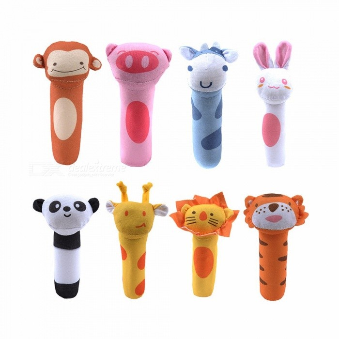 Baby Rattles Mobiles BB Sticks Soft Cow Plush Doll Crib Bed Hanging Hand Catches Animal Kids Toys White