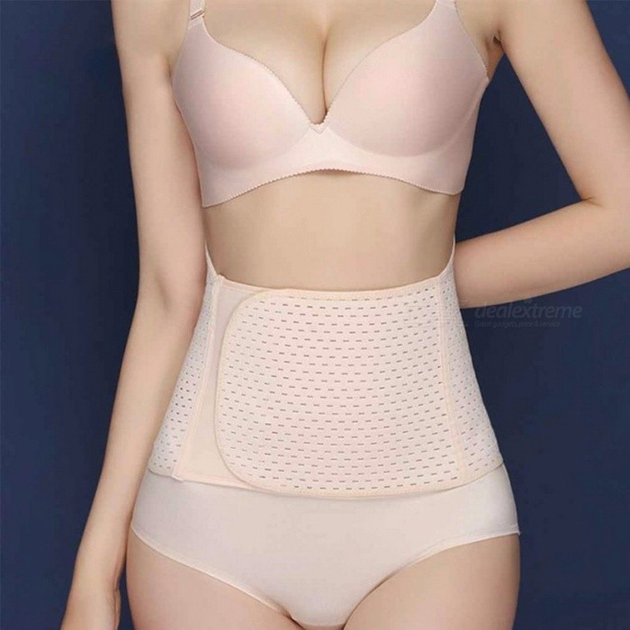 Hollow-Out Breathable Postpartum Abdomen Strap, Bellyband Back Support Belt, Waist Abdomen Girdle For Pregnant Women Ivory