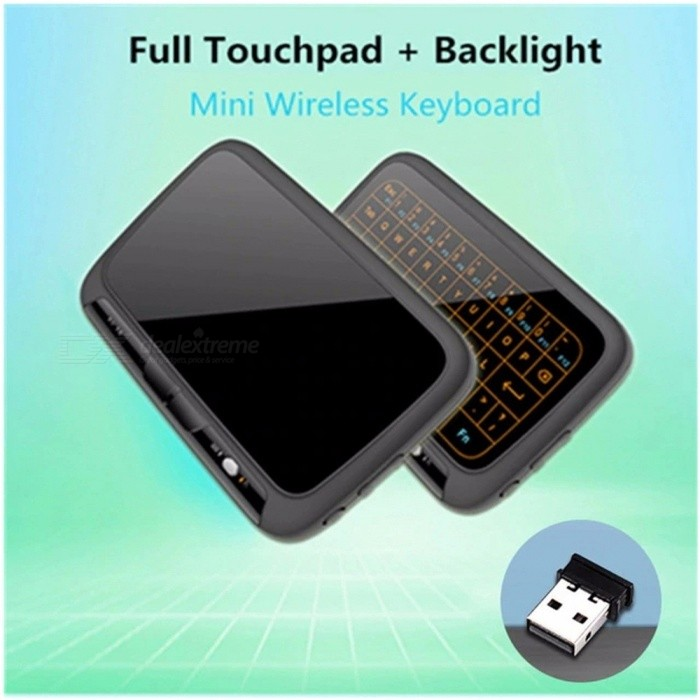 H18+ 2 4GHz Mini Wireless QWERTY Keyboard, Remote Control Full Touch Pad  Touchpad Keyboard For Android TV Box PC Xbox3 Black