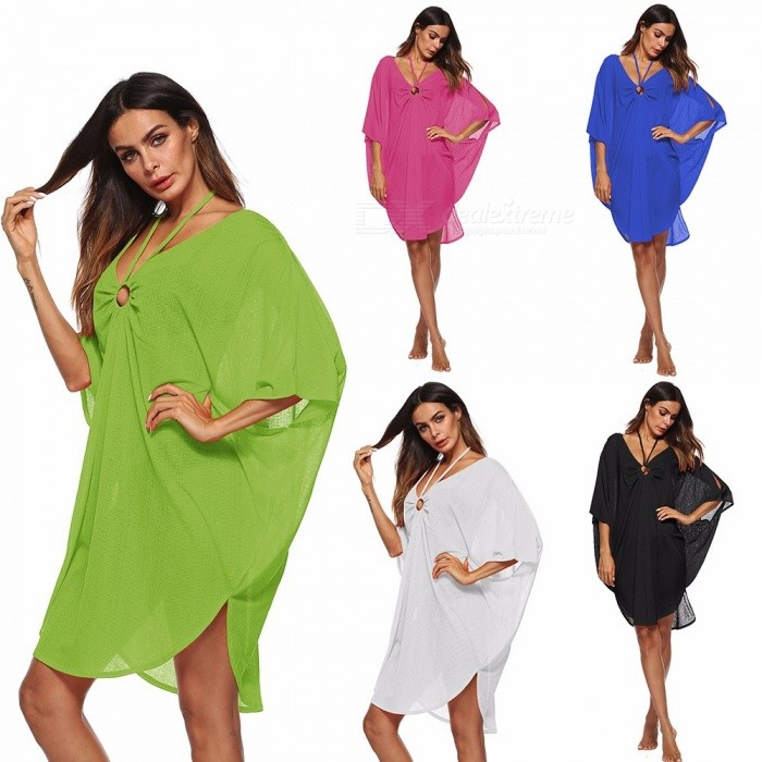 Deep V Neck Sling Strap Beach Bikini Blouse, Hollow-Out Irregular Batwing Sleeve Dress Cover-Up For Swimsuit Swimwear Rose/One Size