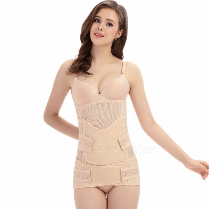 3-in-1 Belly / Abdomen / Pelvis Postpartum Belt, Body Recovery Shapewear, Breathable Belly Slim Waist Cincher Corset Ivory/XLarge
