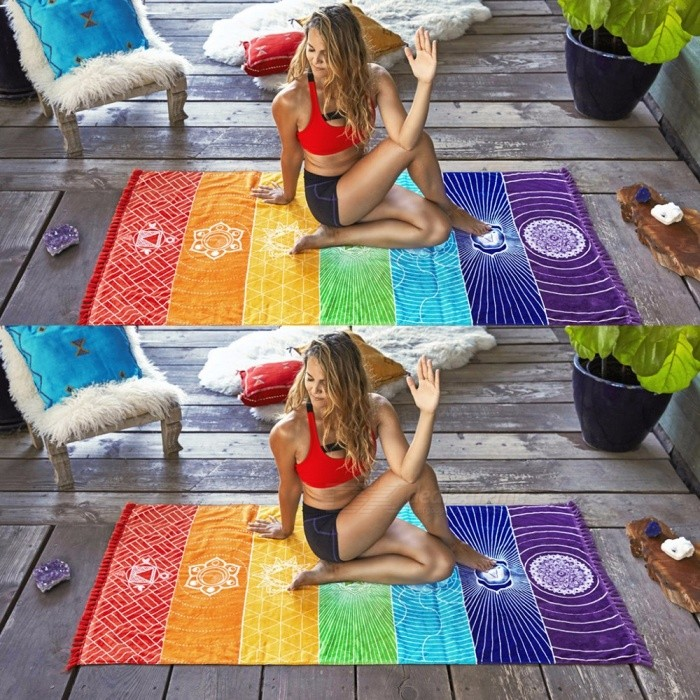 Polyester Stripe Rainbow Beach Towel, Sport Bath Towel, Summer Colorful Large Women Sunbath Towel, Yoga Blanket Mat Multi/One Size