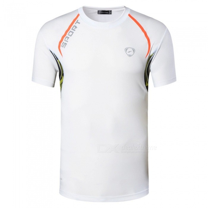LSL137 Casual Quick Dry Elastic Round Neck Short Sleeve Men\'s T-Shirt Tee Tops For Outdoor Cycling Running Sports Black/M