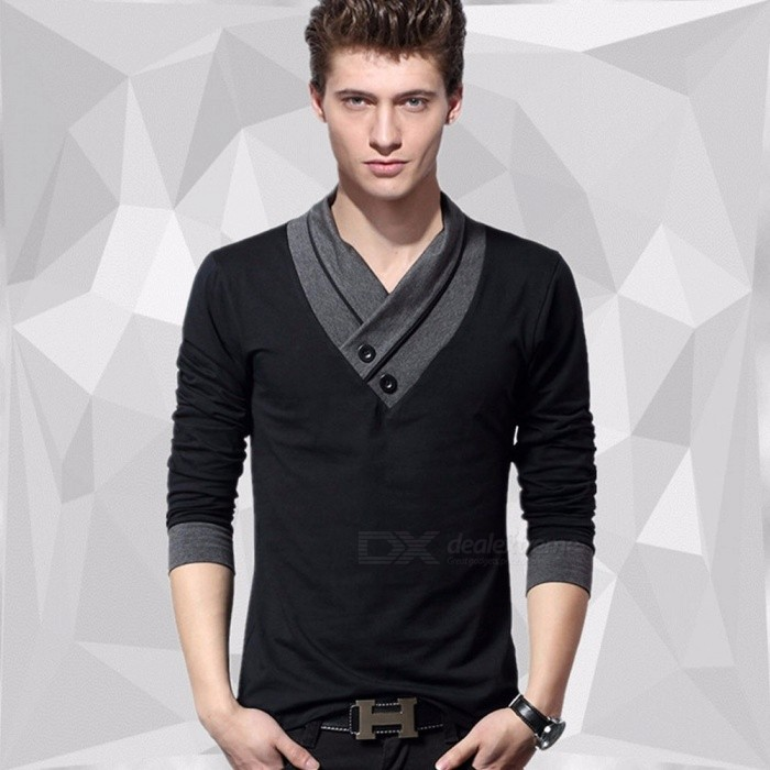Spring Cotton Large Size Slim Elastic V Neck Long Sleeve Men's T-Shirt, Male Tee Tops Black/M