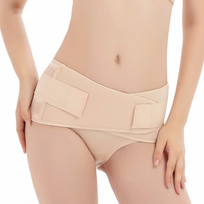 Breathable Postpartum Recovery Belt, Elastic Pelvic Waist Cincher Abdominal Support, Belly Band Bandage For Women Ivory/XLarge